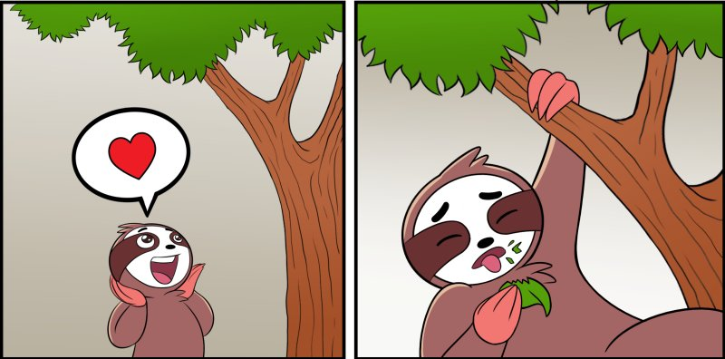 slothino sees a tree but when he tastes the leaves he finds out they are plastic