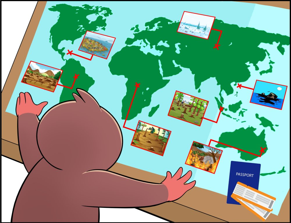 Adventures of Slothino - world environmental and social problems